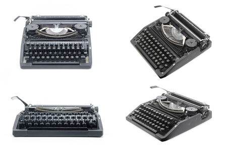 crisp: picture set of Antique typewriter against a crisp white backdrop
