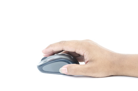 Hand click on modern computer mouse isolated on a white background photo