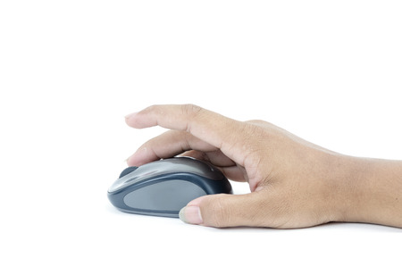 Hand click on modern computer mouse isolated on a white background with clipping path Stock Photo - 27246306
