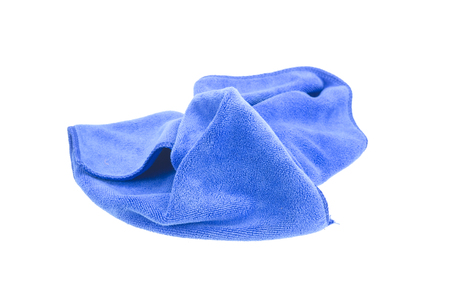 microfiber: Crumpled blue microfiber cloth isolated on white background
