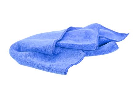 microfibra: Arrugado pa�o de microfibra azul aislado en fondo blanco Foto de archivo