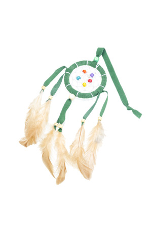 Beautiful dream catcher isolated on white with clipping path photo