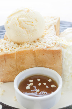 Honey Toast, Consists of bread topped with honey and ice cream photo