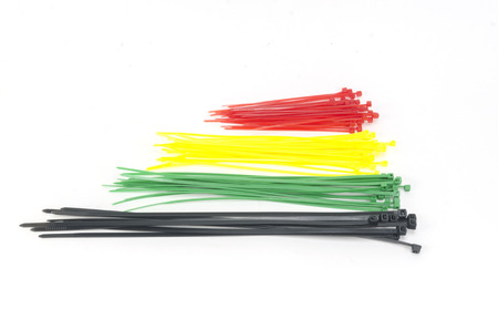 zip tie: colorful cable tie isolated on white background
