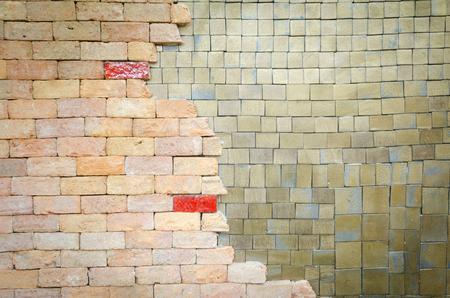 Rainbow colourful brick wall (background) photo