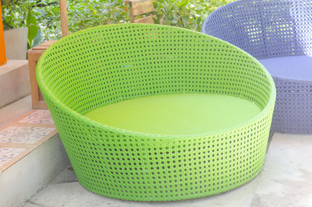 Colorful plastic sofa for the resort. photo