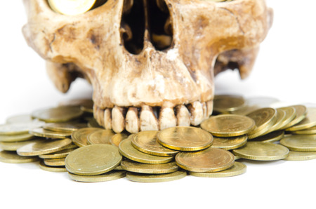 money concept with human skull Stock Photo