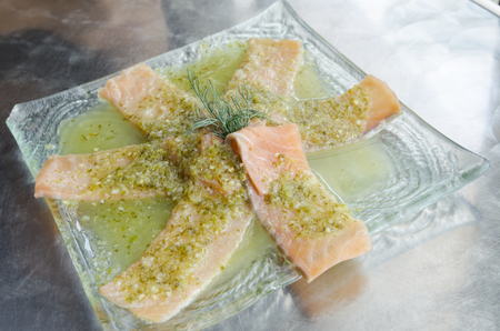 fresh raw salmon with Vegetables photo
