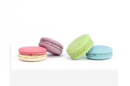 macarons isolated on white background photo