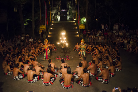 BALI, INDONESIA - JUNE 14: Presentation of traditional balinese Women Kecak Fire Dance on JUNE 14, 2014 on Bali. Kecak (also known as Ramayana Monkey Chant) is very popular cultural show on Bali.