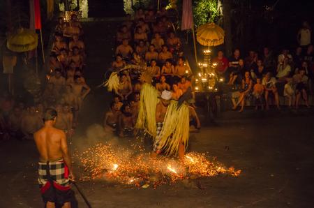 kecak: BALI, INDONESIA - JUNE 14: Presentation of traditional balinese Women Kecak Fire Dance on JUNE 14, 2014 on Bali. Kecak (also known as Ramayana Monkey Chant) is very popular cultural show on Bali. Editorial