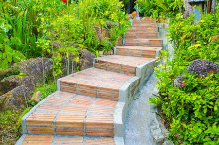 Garden Walkway in natural park outdoor