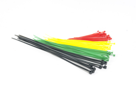 colorful cable tie isolated on white background photo