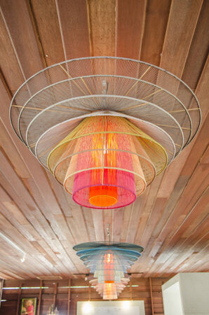 Wooden ceiling with lamp photo