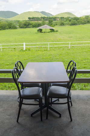 table setting with nature field photo