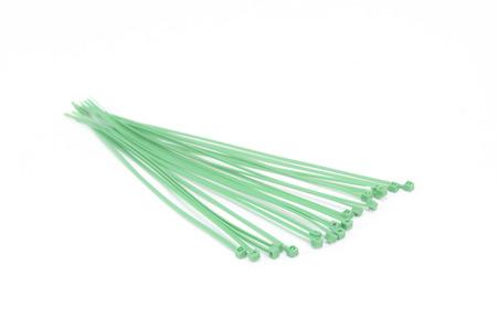 zip tie: cable plastic tie isolated on white background Stock Photo