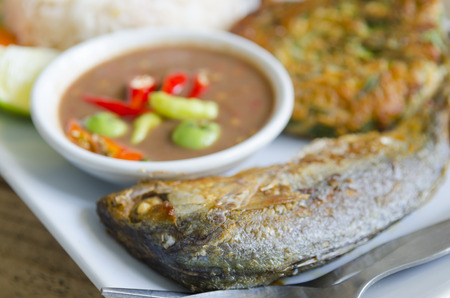 fish fry: Thai food with fish Fry Stock Photo