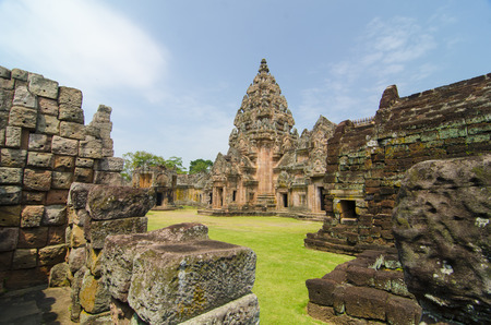 monument historical monument: Stone monument at Pimai Historical Park Nakhon Ratchasima Province in Thailand built like Angkor Wat of Cambodia