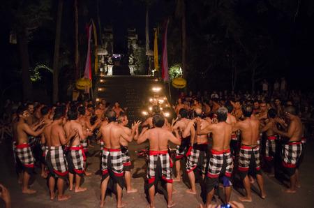 kecak: BALI, INDONESIA - JUNE 14: Presentation of traditional balinese Women Kecak Fire Dance on JUNE 14, 2015 on Bali. Kecak (also known as Ramayana Monkey Chant) is very popular cultural show on Bali.