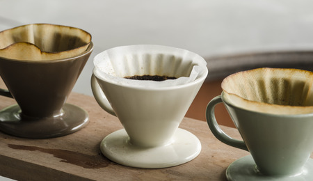 Kits for making fresh coffee in vintage tone