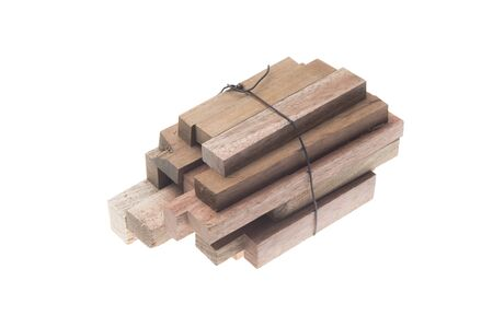 wood blocks: Stack of Wood Blocks on White Background Stock Photo