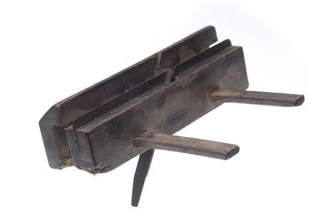 planer: old carpenter tool planer, isolated on white background