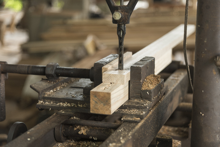 sawhorse: Close-up of carpenter cutting a wooden plank Stock Photo