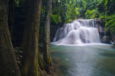 cataract falls: Deep forest waterfall at Erawan waterfall National Park Kanjanaburi Thailand Stock Photo