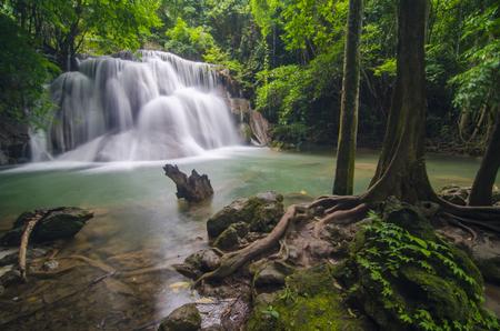 green landscape: Deep forest waterfall at Erawan waterfall National Park Kanjanaburi Thailand Stock Photo