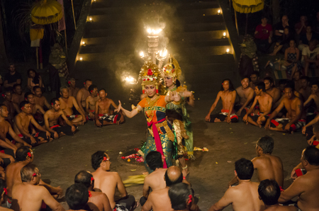 BALI, INDONESIA - JUNE 15: Presentation of traditional balinese Women Kecak Fire Dance on JUNE 15, 2015 on Bali. Kecak (also known as Ramayana Monkey Chant) is very popular cultural show on Bali.