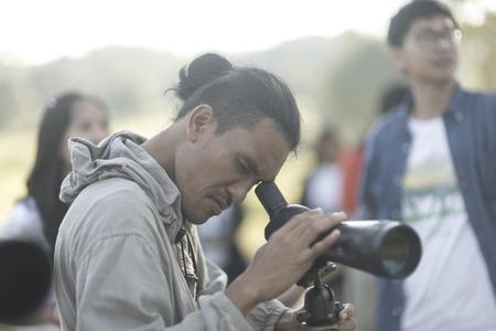 warblers: Nakhonratchasima, THAILAND - NOVEMBER 15 : Bird watchers and nature lovers Tourists enjoy watching the Bird on November 15, 2015 at Khao Yai National Park in Nakhonratchasima, Thailand Editorial
