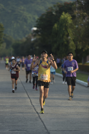 frenetic: Nakhonnayok, THAILAND-November 1 : unidentified runner are participates in Nakhonnayok 2015 Marathon relay run fun forward on November 1, 2015 in Nakhonnayok, Thailand