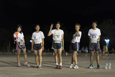 get tired: Nakhonnayok, THAILAND-November 1 : unidentified runner are participates in Nakhonnayok 2015 Marathon relay run fun forward on November 1, 2015 in Nakhonnayok, Thailand