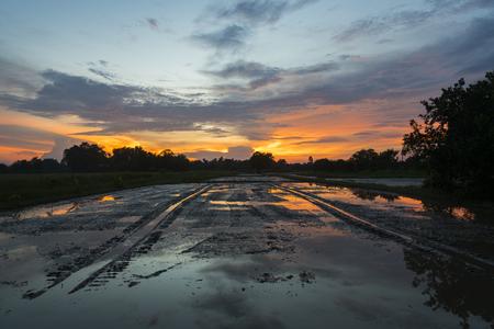 wetland: wetland sunset, Asia