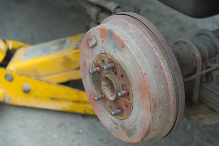 brakes: Brakes on a car with removed wheel