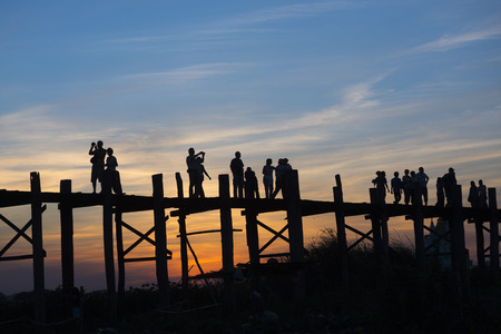 man made structure: Sunset on U Bein Bridge, Amarapura, Myanmar Burma