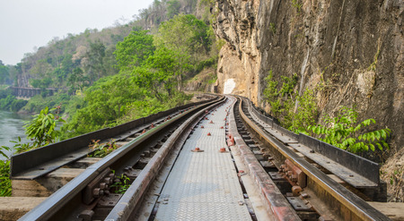 rural areas: Railroad tracks in rural areas, with the natural site, Thailand Stock Photo
