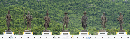 adulyadej: Hua Hin, THAILAND - September 27,2015: Ratchapak Park and the statues of seven former Thai kings were constructed by the Royal Thai Army under royal permission from His Majesty King Bhumibol Adulyadej Editorial