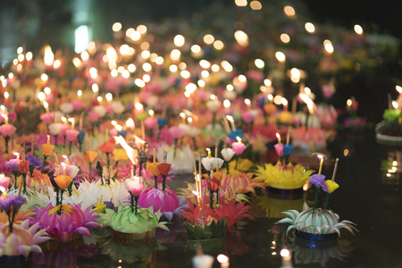 NAKHONNAYOK, THAILAND - NOVEMBER 25 :Loy Krathong festival, Thai people buy flowers and candle to light and float on water to celebrate on November 25, 2015 in Nakhonnayok, Thailand.