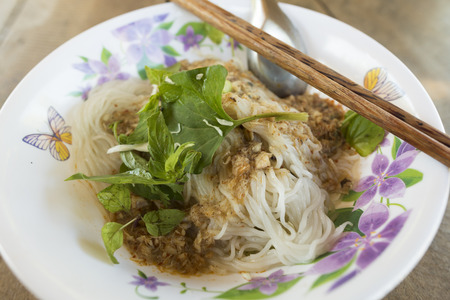 lao: Vietnam noodle Set in Pham Ngu Lao Street Ho Chi Minh