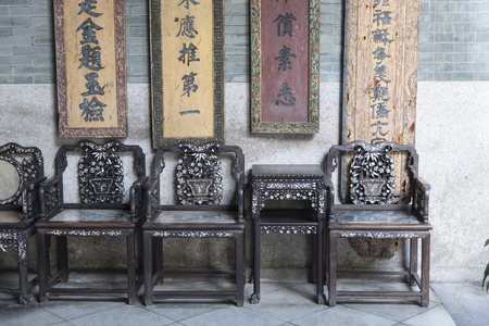 shool: Interior of ancient shool in chinese traditional village hongcun in huangshan, anhui, china