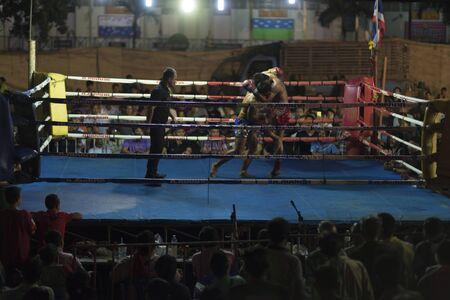 HUA HIN THAILAND- JANUARY 25 : Unidentified players in Muaythai  Muay Thai on January 25 , 2016 at Khoa Kittisukato temple Hua Hin Thailand