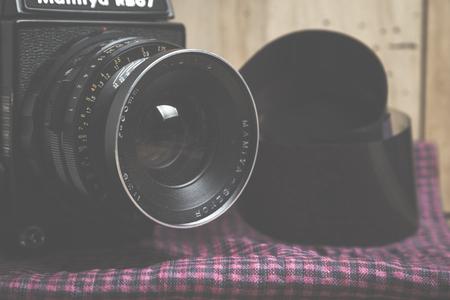 analog camera: Moscow, Russia - March 09, 2016: Medium format analog camera. Vintage object. Mamiya RB67 Professional .