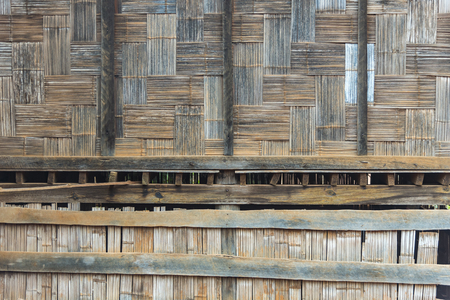 asian house plants: Native Thai style bamboo wall. Bamboo pattern basketry handmade Stock Photo