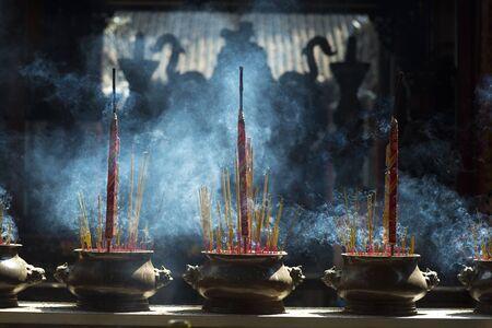 ba: incense in Chua Ba Thien Hau Temple, Saigon, Vietnam