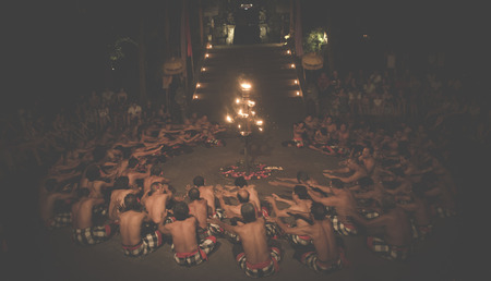 chant: BALI, INDONESIA - JUNE 14: Presentation of traditional balinese Women Kecak Fire Dance on JUNE 14, 2014 on Bali. Kecak (also known as Ramayana Monkey Chant) is very popular cultural show on Bali. Editorial