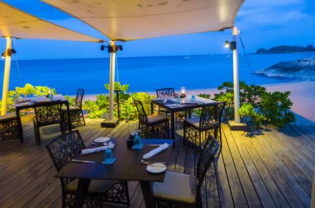 dinner zone in the sea view Standard-Bild