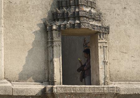 vestige: Sangklaburi,Thailand-May 23,2016 : Interior Wall Decoration of Wat Saam Prasob, the last remaining vestige of the old town flooded of Khao Laem Reservoir, in Sangklaburi, Thailand