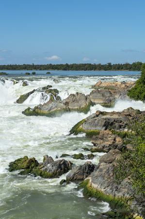 khong river: The greatest waterfall in Laos, Khon-Pa-Peng Stock Photo