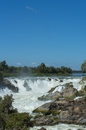 The greatest waterfall in Laos, Khon-Pa-Peng Stock Photo